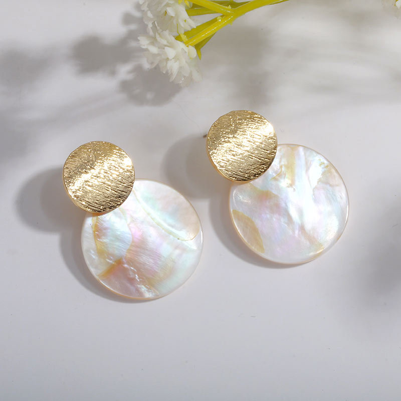 Fashion Wedding Jewelry Hanging Natural Shell Pearl Geometric Earrings High Quality Natural Shell Pendant Earrings for women P40 5