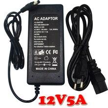 12 V 5A AC/DC fuente de Alimentación Adaptador Transformador Cargador de 5050 3528 RGB LED Franja de luz EE. UU./REINO UNIDO/EU/AU