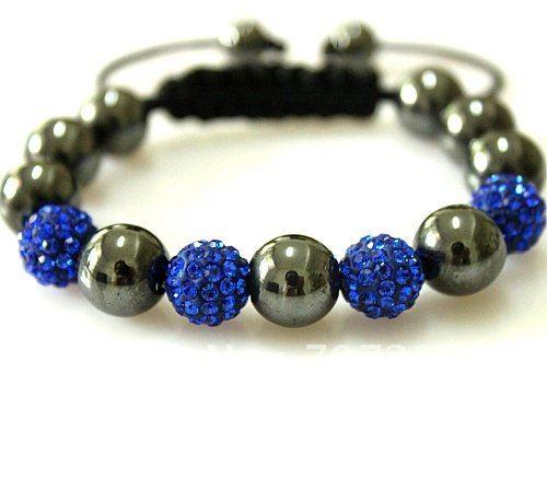 Hot selling 7pcs blue shamballa beads bracelet Free Shipping