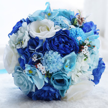 24CM Artificial Simulation Flower Wedding Bouquet Romantic Blue White Mixed Bride Ribbon Diamond Bridesmaid