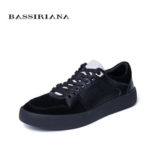 BASSIRIANA New 2019 Genuine Leather men casual shoes lace up comfortable round toe  spring autumn 39-45 size handmade