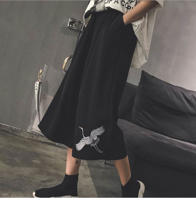 Japanese Pants Spring Three Quarter Trouser Women Loose Wide Leg Pants