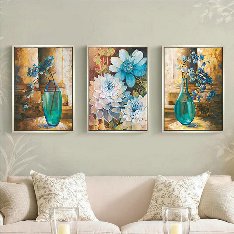 3D Diy DMC counted cross stitch printed on canvas Kits vase flower chinese triptych cross stitch