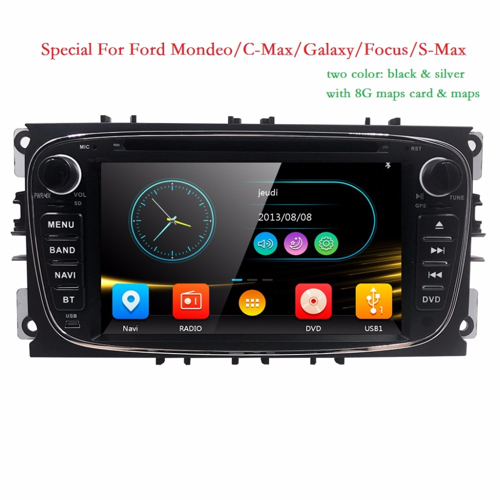 Two Din 7 Inch Car DVD Player For FORD/Mondeo/S-MAX/C-MAX/Galaxy/FOCUS 2 Radio FM/AM RDS SD GPS Navigation 1080P Ipod BT 8G Map