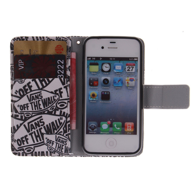Beast Pattern PU Leather Case For iPhone 4 4s 4/4s
