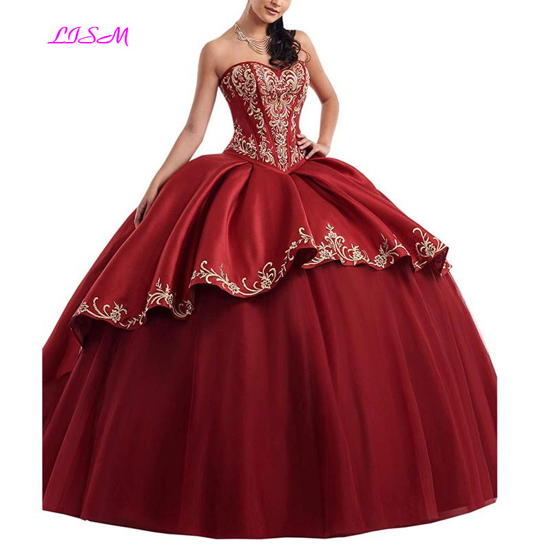 Hot Deal Gold Embroideried Quinceanera Dress Sweetheart