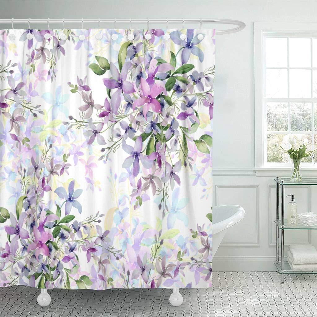 Multicolored Splatters Watercolor Painted Spots Fabric Shower Curtain Set 180cm