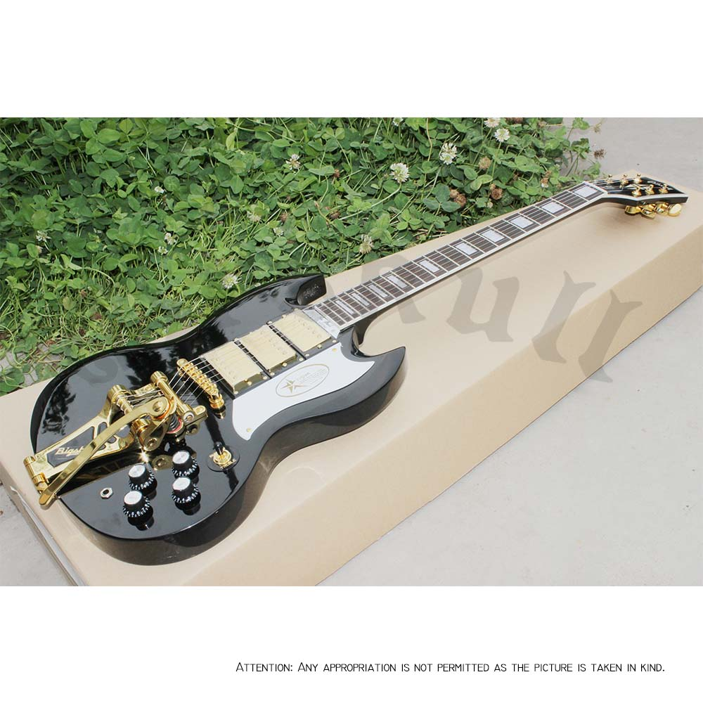 OEM Guitars Gb SG S3 3 Humbuckers with bigsby SG Black Beauty electric guitar chinese glossy black g6128t gh george harrison signature duo jet electric guitar with bigsby for sale
