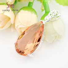 Top Jewelry Classic Shiny Nice Fire Drop Morganite Gems Pendants for Necklaces USA Russia Canada Australia Wedding Pendants(China)
