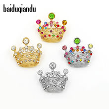 Baiduqiandu Crystal Crown Bros untuk Wanita Warna Berlian Imitasi Bros Perhiasan Hadiah Natal Bros Pin(China)
