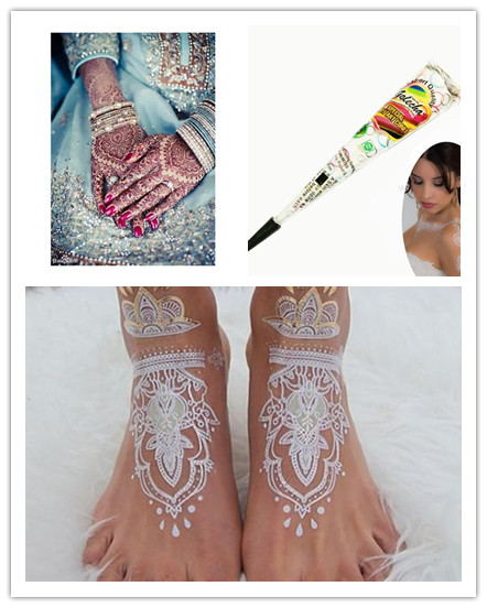 2016 New White Mehndi Paste Cone Women Body Makeup Bride Party