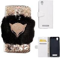 3D DIY Bling Rhinestone Fox Rabbit Fur Stand Flip Wallet PU Leather Smart Phone Case Cover