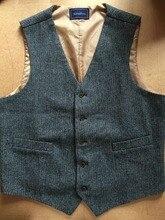 2019 Custom Made Groom Wear Dark Gray Vintage Herringbone Tweed Vest for Rustic Wedding Plus Size