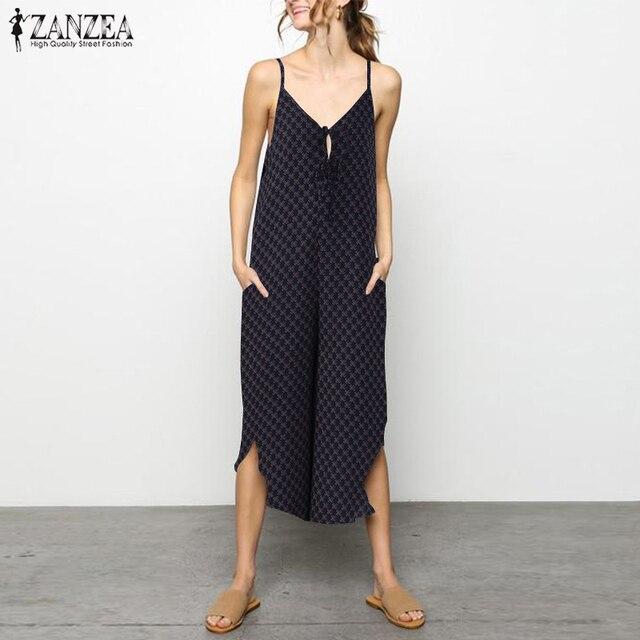 235d86181c ZANZEA 2018 Summer Jumpsuit Women Wide Leg Trouser Print Bodysuit Casual  Starppy Asymmetric Hem Rompers Plus