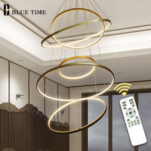 Creative Cirlce Modern LED Chandelier Black&White&Gold&Silver Rings Led Ceiling Lighting For Living room Dining