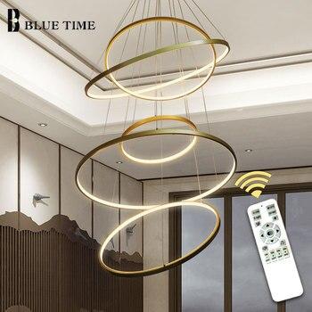 Creative Cirlce Modern LED Chandelier Black&White&Gold&Silver Rings Led Ceiling Lighting For Living room Dining