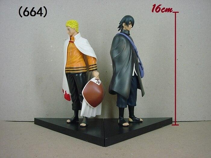 2pcs/set Naruto Uzumaki Naruto + Uchiha Sasuke PVC Anime Cartoon Action Figure Collectible Model Toy 16cm KT1756