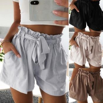 Hot Sale Summer 2019 New Casual Loose Women Shorts Beach Mid Waist Solid Fashion Female With Sashes Cotton Shorts Ladies Hot
