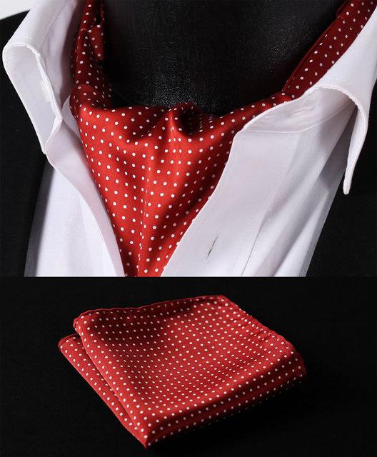 Rd103u borgoña blanca del punto de polca de seda corbata tejida corbata Ascot Pocket Square pañuelo Set Suit