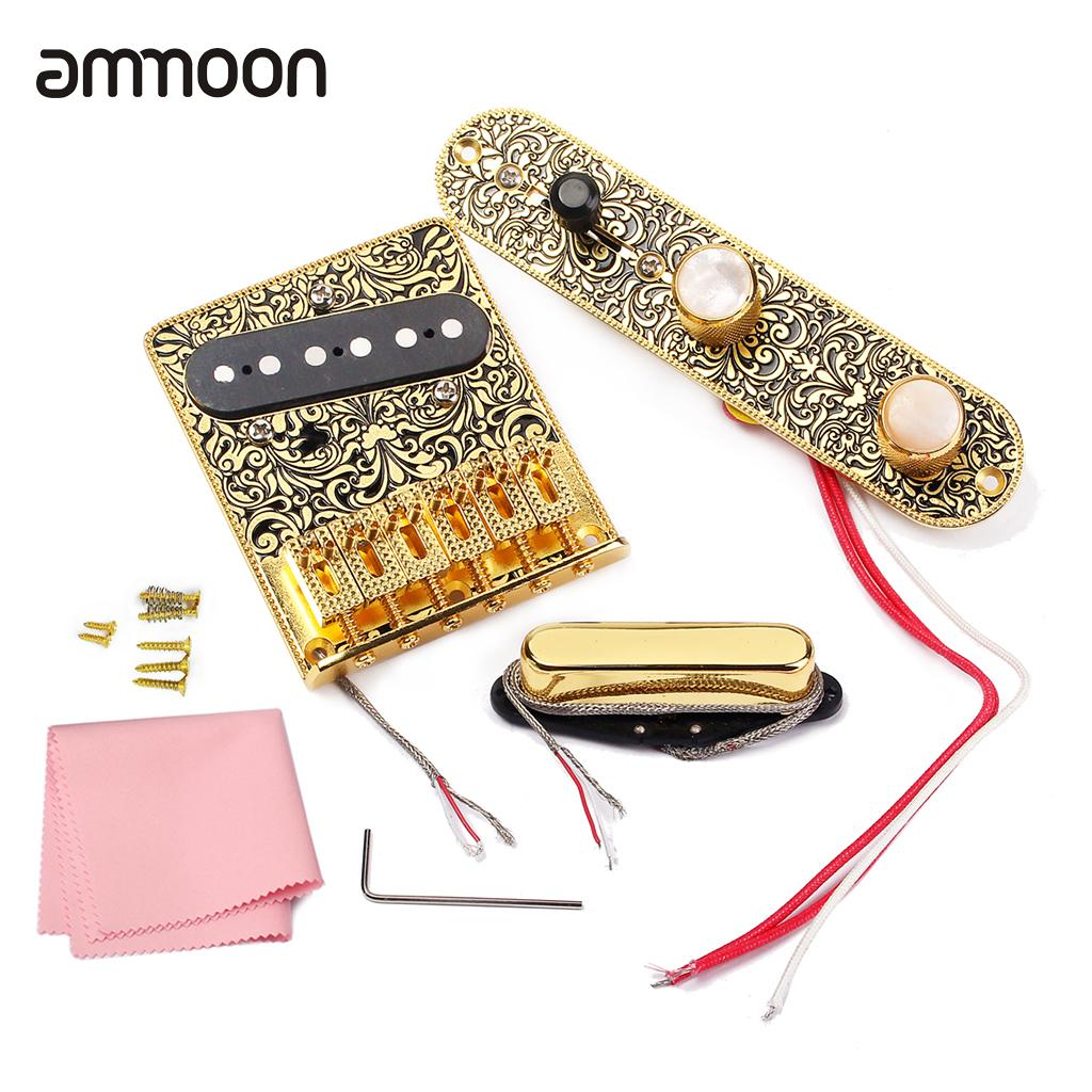 High quality Electric Guitar 6 Saddle String Bridge Pickup Set with 3 Way Switch Control Plate