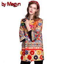 2017 Women Autumn Winter Fuzzy Ball Diamonds Beading Baroque Printed Embroidery Coat Trench  Dashiki Trench DG155