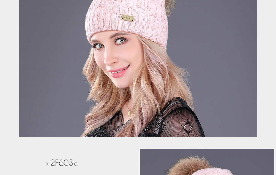 [boapt] Double-deck Knitted Wool Real Natural Raccoon Fur Pompon Hat Female Winter Braid Cap Headgear For Women Skullies Beanies HTB1pYSlcPihSKJjy0Feq6zJtpXaI