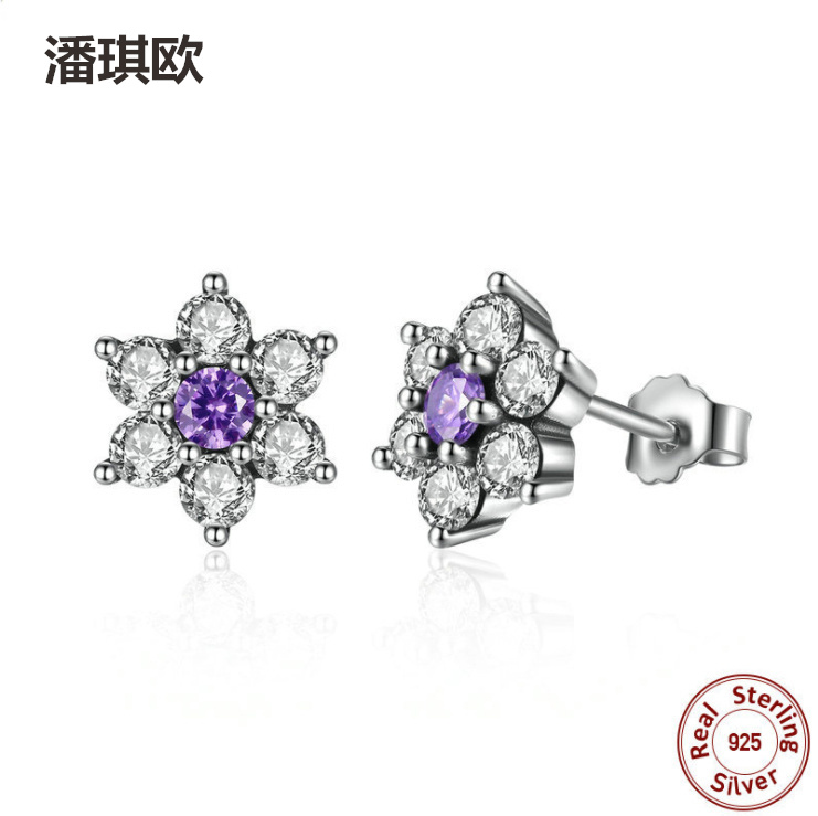 Luxury 925 Sterling Silver Austrian purple crystal Stud Earrings for Women boucle Compatible with pan jewelery Brand earring