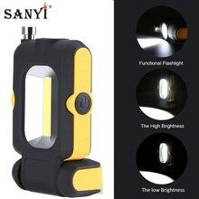 Sanyi poderosa COB LED linterna portátil recoger herramienta de trabajo luz 180 grados linterna de pie fuerte Coche magnético reparar lámpara AAA