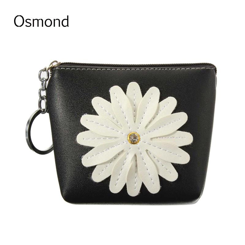 Osmond 3D Flower Coin Wallet Women Change Purse Small Wallets Key Storage Bag Children Gift PU Leather Mini Lady Coins Purses 2016 coin bag creative flower women coin purses fresh syle key wallets canvas girls child gift wallets small purse b0234
