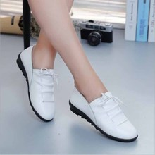 Spring Autumn Fashion Loafers 100% Genuine Leather Single Shoes Soft Casual Flat Shoes Women Flats mother shoes 35-40 цены онлайн