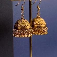 TopHanqi ретро этнические индийские Jhumka Jhumki серьги Femme античный золотистый гравированный Лотос Фонарь Висячие серьги для женщин ювелирные изделия