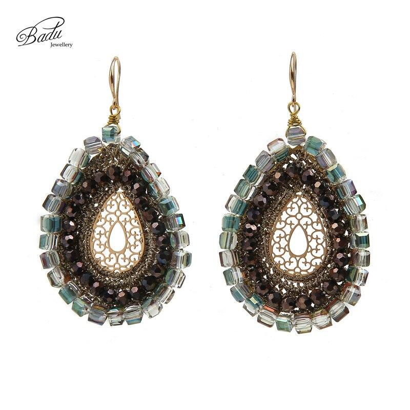 Crochet Hook Earrings: Badu Women Ethnic Water Drop Crystal Crochet Hook Dangle