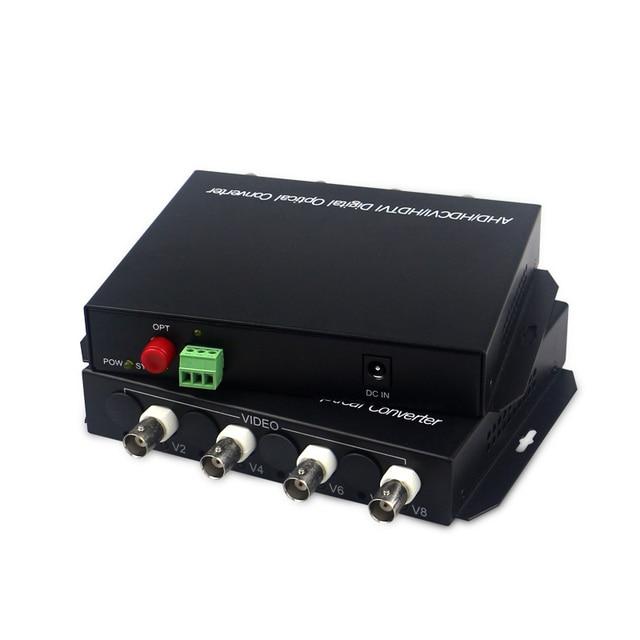 1080P HD video AHD CVI TVI Fiber optische converter, 4 CH HD Video met RS485 1080p cvi ahd glasvezel naar coax converter