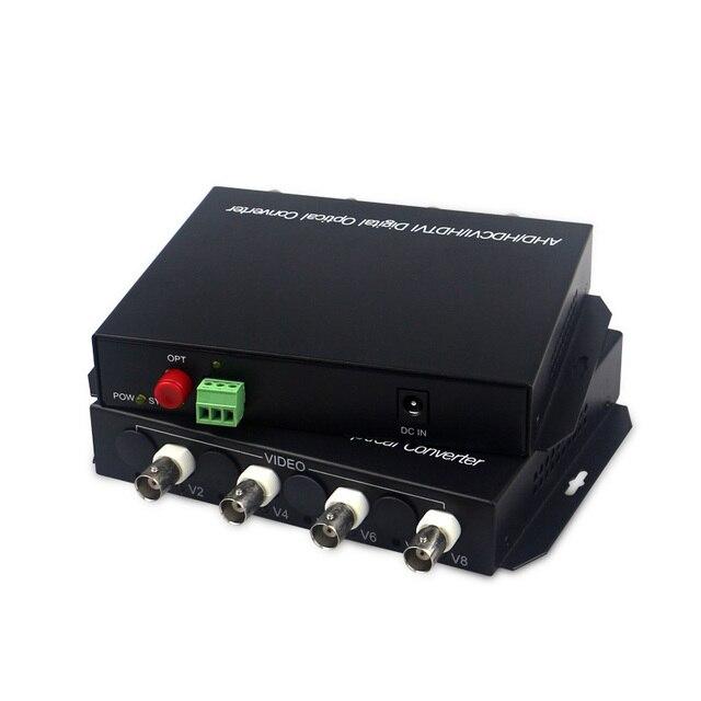 1080p hd 비디오 ahd cvi tvi 광섬유 변환기, rs485 1080p cvi ahd 광섬유 동축 변환기가있는 4 채널 hd 비디오