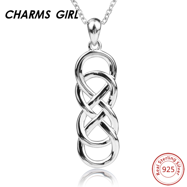 Charms girl celtic knot silver necklaces for women 925 sterling charms girl celtic knot silver necklaces for women 925 sterling silver infinite love pendant necklace real aloadofball Image collections