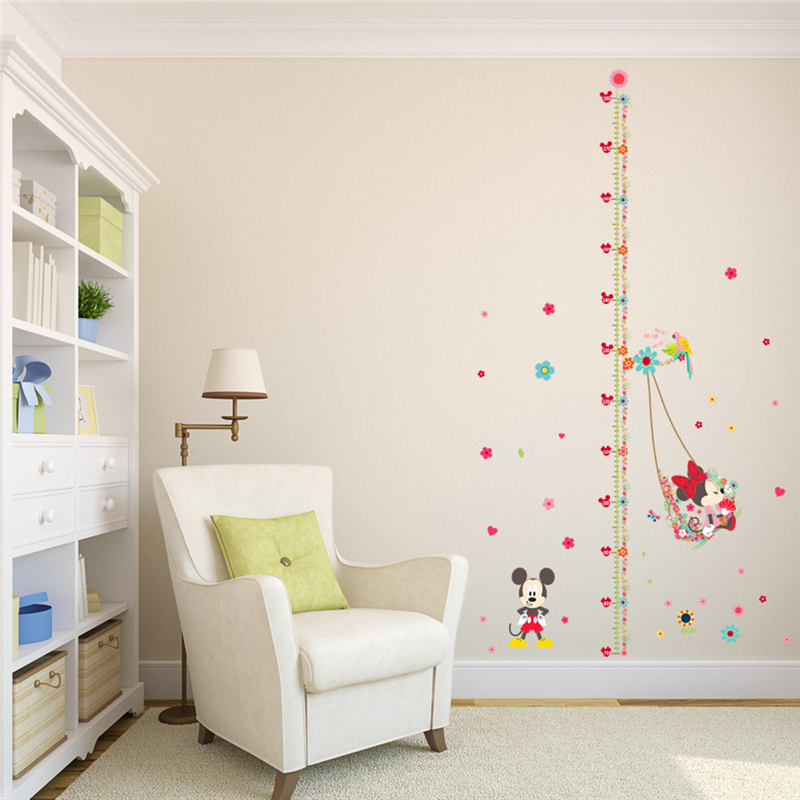 Minnie Mickey Mouse Growth Chart Wall Stickers For Kids Room Decor