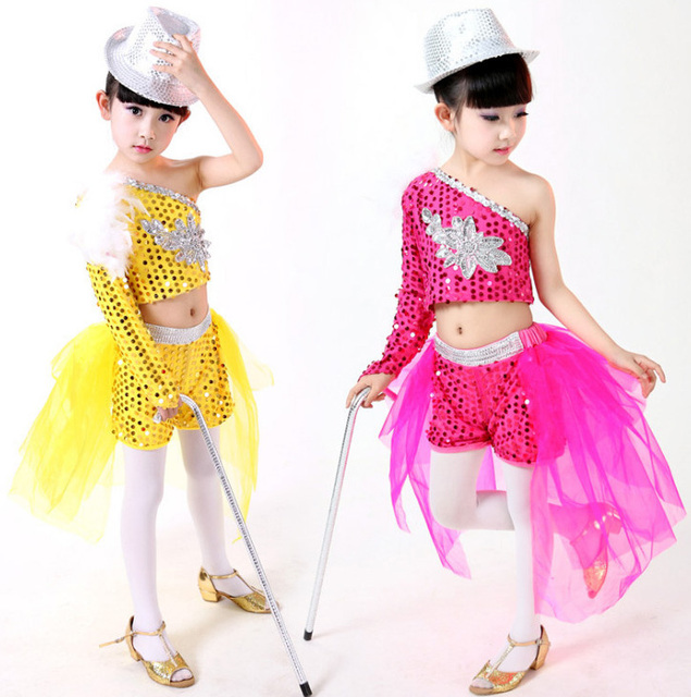 Pluma de las muchachas de Lentejuelas de Baile Moderno Jazz Hip Hop Danza  Traje Competencia Set 3d04209cd9e