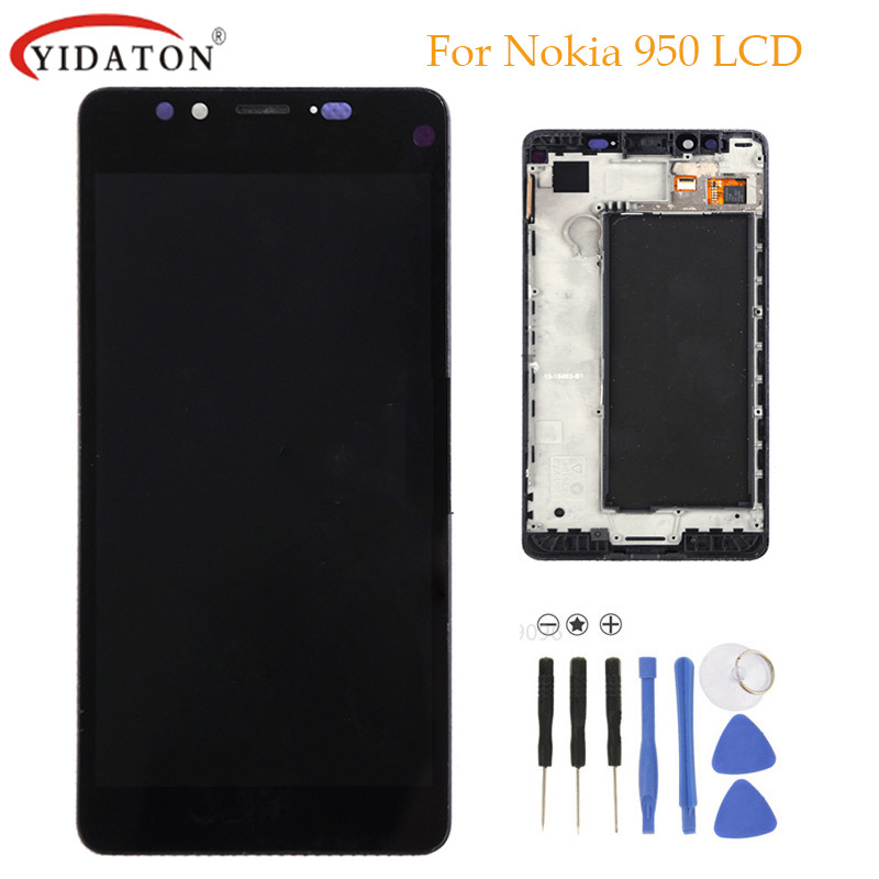 High quality For Nokia Lumia 950 LCD Display Touch Screen Digitizer Assembly with Frame Black +Tools Free Shipping