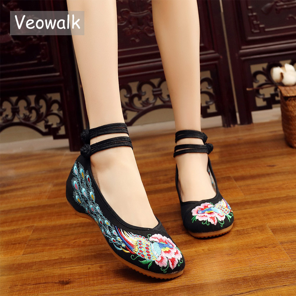 Veowalk Peacock Embroidered Women Soft Canvas Ballet Flats Mid Top Chinese Old Beijing Woman Casual Cotton Embroidery Shoes vintage women flats shoes old beijing mary jane ballet shoes peacock casual cloth flat ladies ballet shoes plus size 43