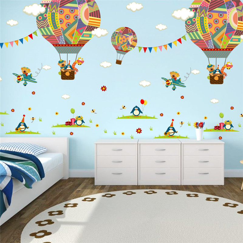 Colorful Hot Air Balloon Bear Giraffe Nursery Room wall sticker for Kids Rooms children 39 s room cartoon Wall Decals Mural in Wall Stickers from Home amp Garden