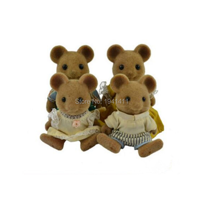 Limited Collection Sylvanian Families mouse Family 4pcs Parents & Kids Set New without Box tt03 sylvanian families mouse family 4pcs parents