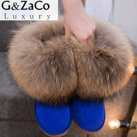 Winter Natural Real Big Fox Fur Gneuine Leather Recoon Fur Snow Boots Women Low Short Tube
