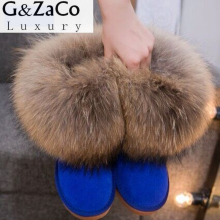 G&Zaco Luxury Winter Natural Real Big Fox Fur Gneuine Leather Recoon Fur Snow Boots Women Low Short Ankle Boots Female Fur Boots