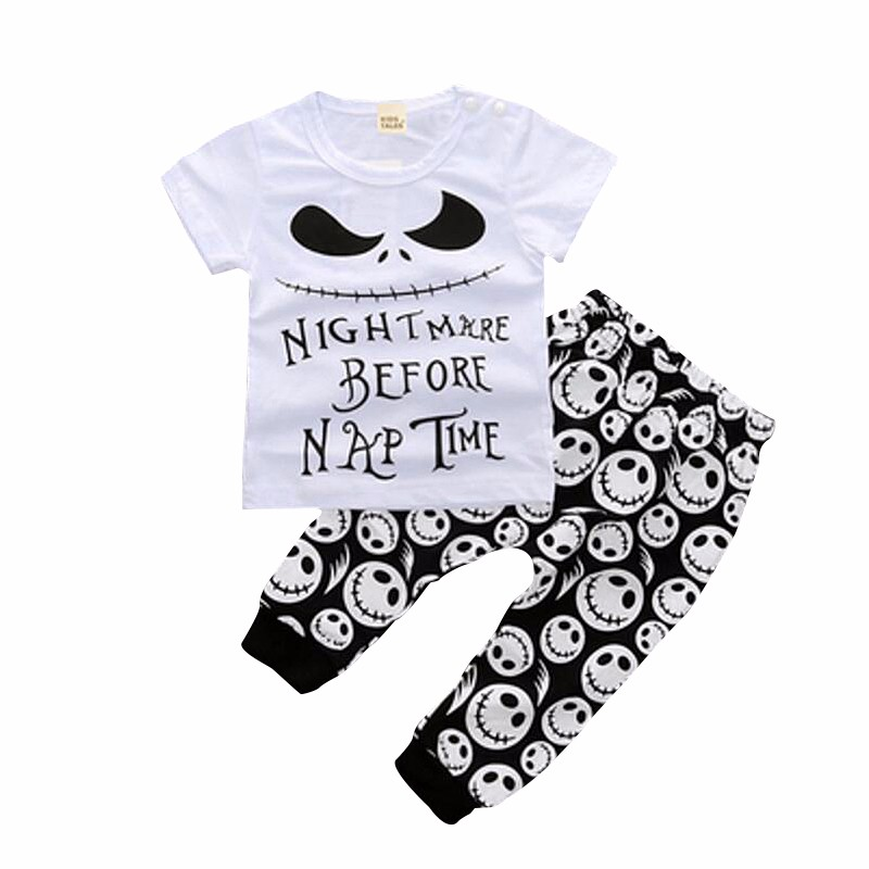 2PCS Summer Baby Sets Cartoon Cotton Girls Boys Clothes Suits 2017 Short Sleeve Baby Outerwear Skeleton T Shirt+Pants Baby Sets (1)