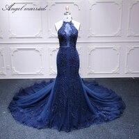 Ангел замуж Роскошные вечернее платье тонкий сексуальный женщины праздничное платье темно синий бисер длинные вечерние платья vestido de festa