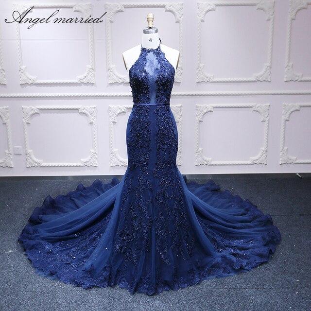 Ange marié luxe robe de soirée slim sexy femmes robe de reconstitution historique bleu marine perles longues robes formelles vestido de festa longo