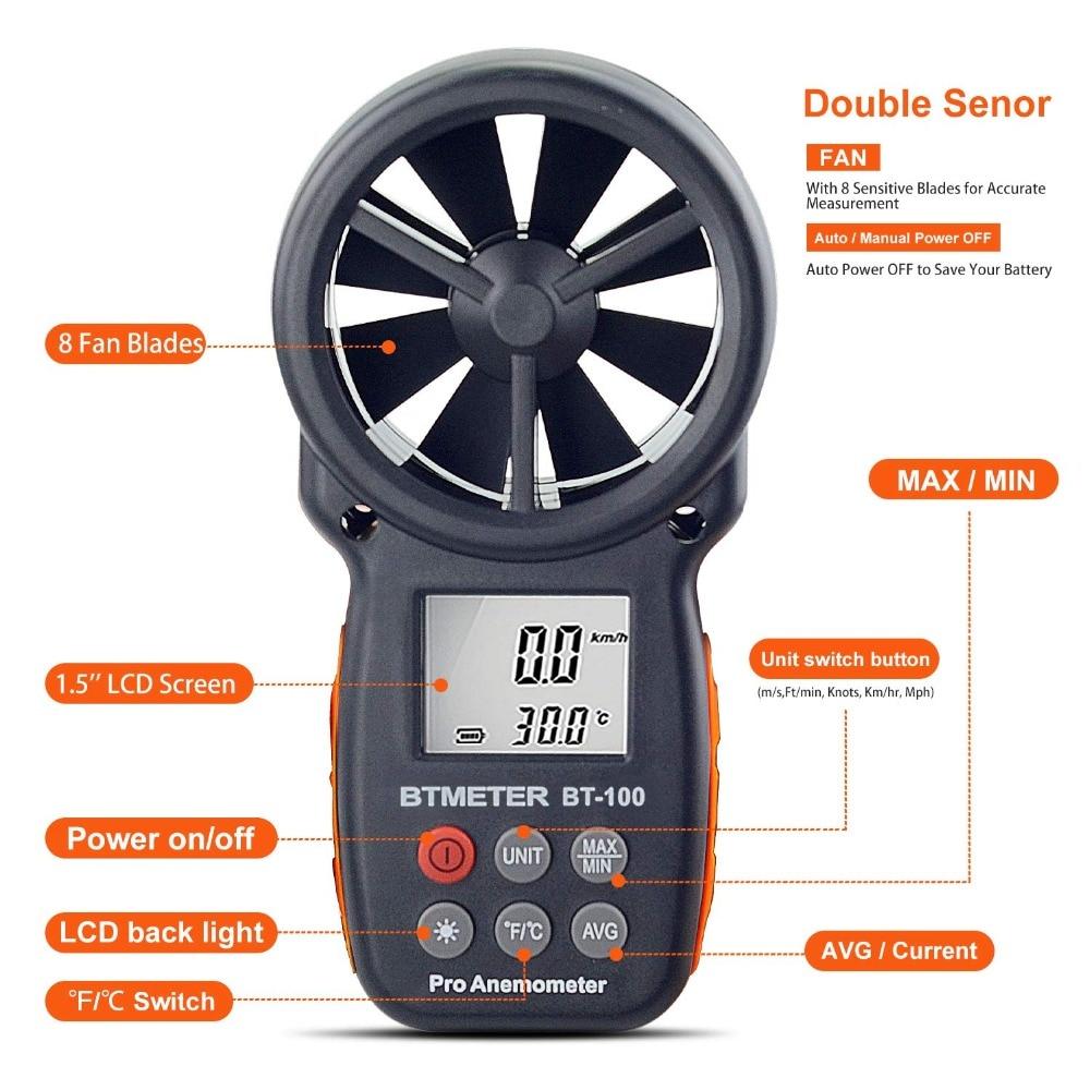 Anémomètre numérique De Compteur de Vitesse De Vent BT-100 pour Mesurer La Vitesse Du Vent, Température et Refroidissement Éolien avec Rétro-Éclairage LCD 3