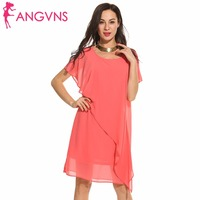 ANGVNS 2017 Women Summer Dress Casual O Neck Flare Short Sleeve Solid Chiffon Loose Dress Sexy