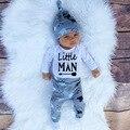 3 ШТ. Маленький Человек Младенческой Мальчиков Младенца Мальчиков Одежда Набор Медведь Beanis Шляпы С Длинным Рукавом Детские Jumsuit Топ Футболка Детские Шаровары брюки
