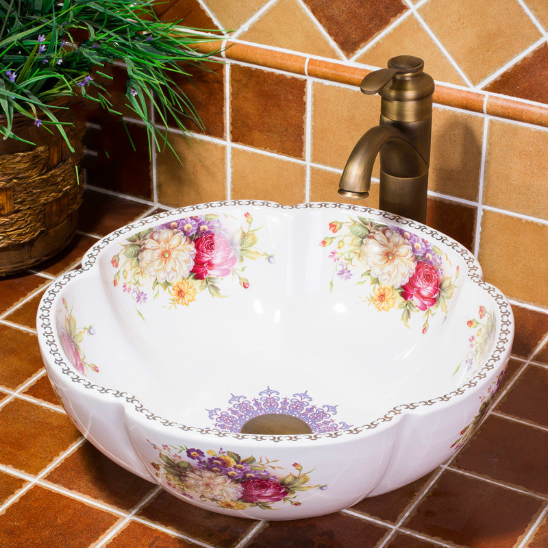 A1 Rose Flower Ceramic Counter Top Wash Basin Bathroom Sinks Hand Painting Wash Basin Sink wx11161116A1 Rose Flower Ceramic Counter Top Wash Basin Bathroom Sinks Hand Painting Wash Basin Sink wx11161116